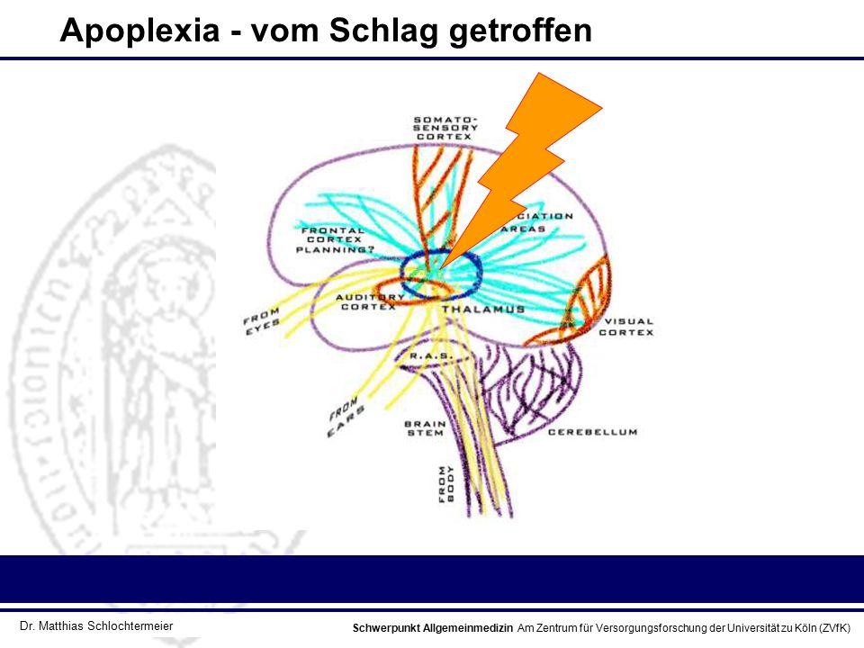 Schwerpunkt Allgemeinmedizin Am Zentrum für Versorgungsforschung der Universität zu Köln (ZVfK) © Prof. Dr. J.W. Robertz Apoplexia - vom Schlag getrof