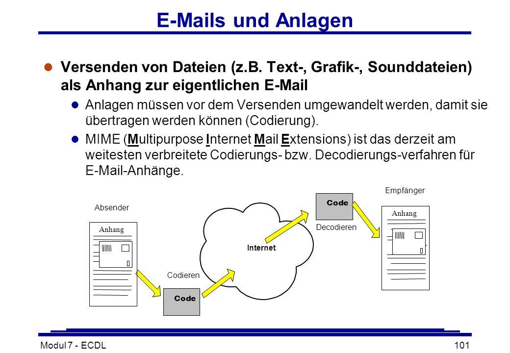 Modul 7 - ECDL101 E-Mails und Anlagen l Versenden von Dateien (z.B.