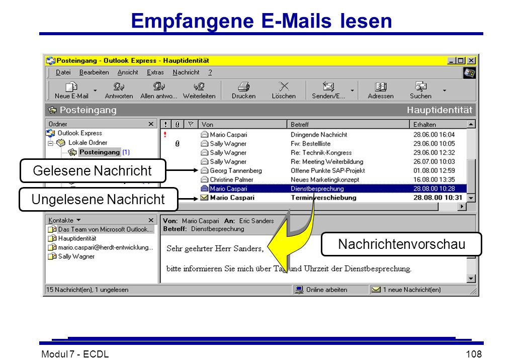 Modul 7 - ECDL108 Empfangene E-Mails lesen Nachrichtenvorschau Ungelesene Nachricht Gelesene Nachricht