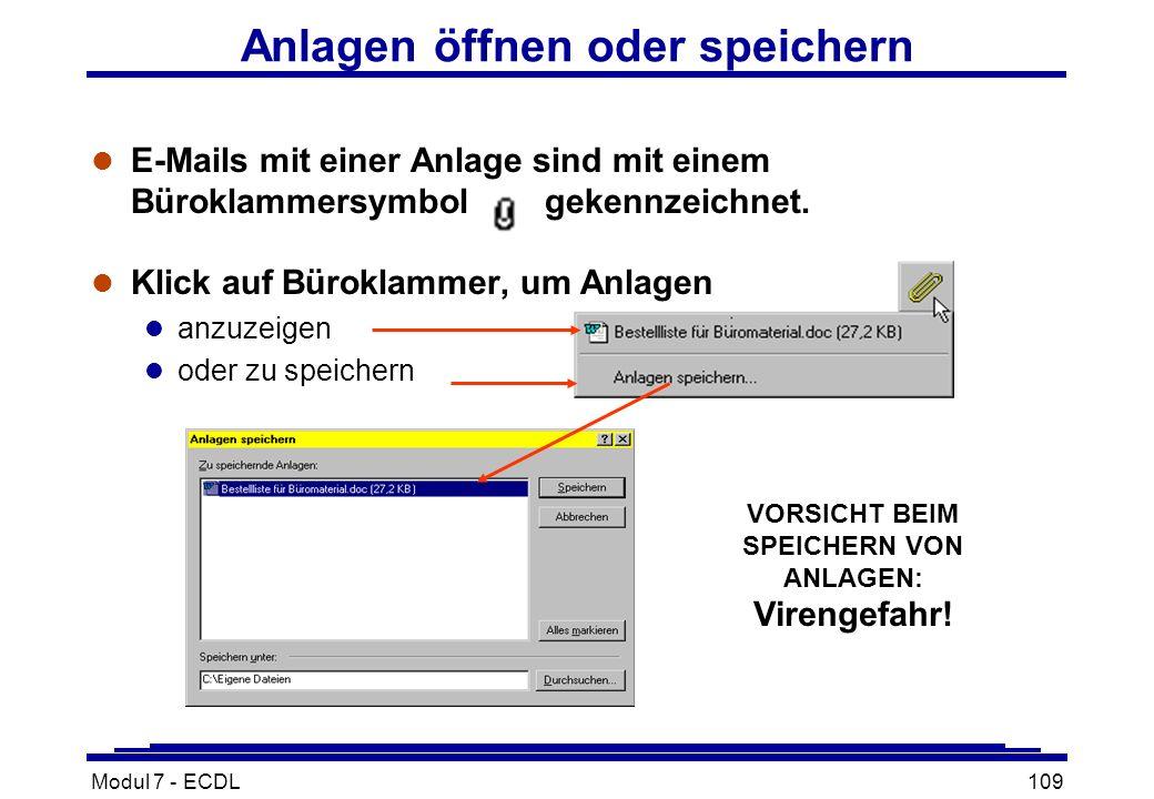 Modul 7 - ECDL109 l E-Mails mit einer Anlage sind mit einem Büroklammersymbol gekennzeichnet.