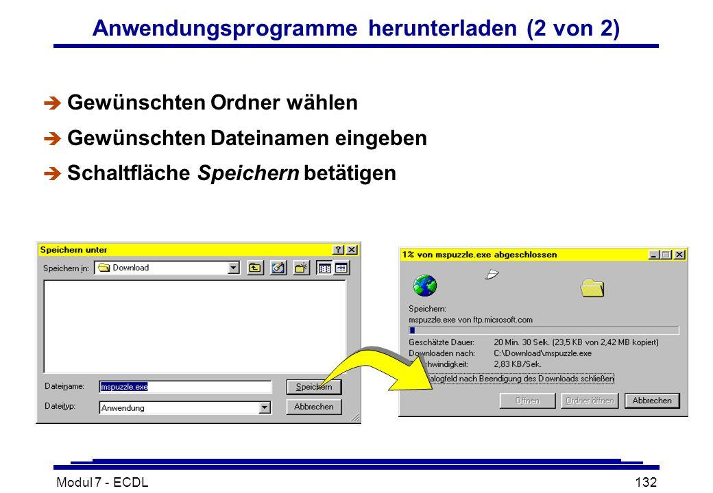 Modul 7 - ECDL132 Anwendungsprogramme herunterladen (2 von 2) è Gewünschten Ordner wählen è Gewünschten Dateinamen eingeben è Schaltfläche Speichern betätigen