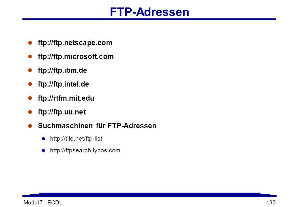 Modul 7 - ECDL133 FTP-Adressen l ftp://ftp.netscape.com l ftp://ftp.microsoft.com l ftp://ftp.ibm.de l ftp://ftp.intel.de l ftp://rtfm.mit.edu l ftp://ftp.uu.net l Suchmaschinen für FTP-Adressen l http://tile.net/ftp-list l http://ftpsearch.lycos.com