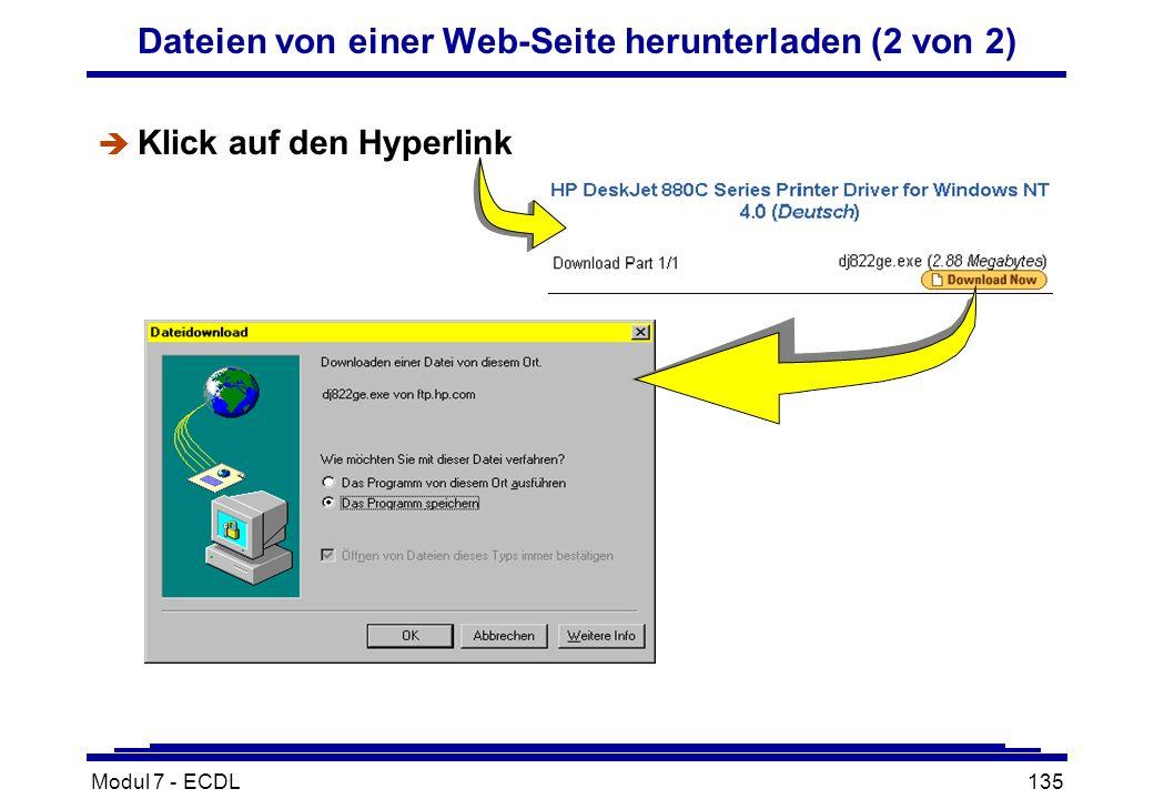Modul 7 - ECDL135 Dateien von einer Web-Seite herunterladen (2 von 2) è Klick auf den Hyperlink