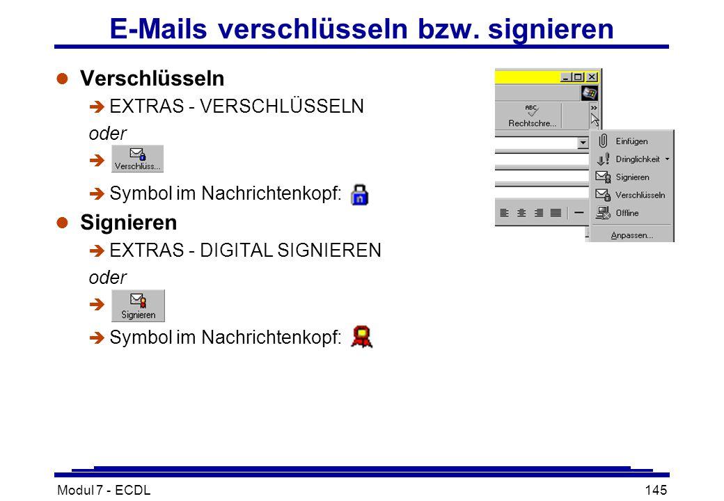 Modul 7 - ECDL145 E-Mails verschlüsseln bzw.