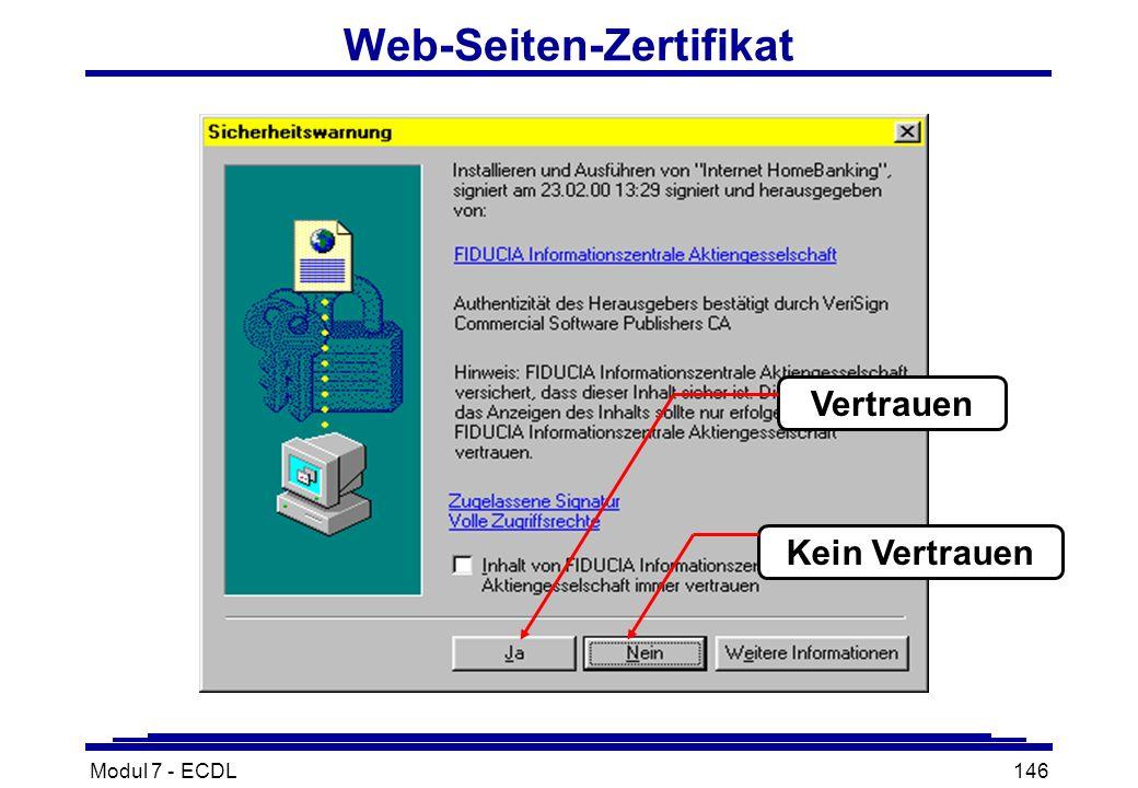 Modul 7 - ECDL146 Web-Seiten-Zertifikat Vertrauen Kein Vertrauen
