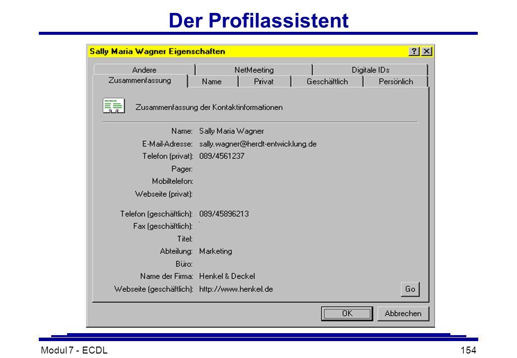 Modul 7 - ECDL154 Der Profilassistent