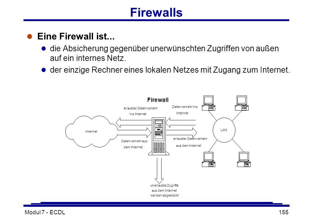 Modul 7 - ECDL155 Firewalls l Eine Firewall ist...
