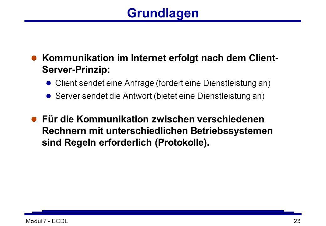Modul 7 - ECDL23 Grundlagen l Kommunikation im Internet erfolgt nach dem Client- Server-Prinzip: l Client sendet eine Anfrage (fordert eine Dienstleistung an) l Server sendet die Antwort (bietet eine Dienstleistung an) l Für die Kommunikation zwischen verschiedenen Rechnern mit unterschiedlichen Betriebssystemen sind Regeln erforderlich (Protokolle).