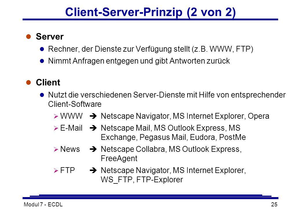 Modul 7 - ECDL25 Client-Server-Prinzip (2 von 2) l Server l Rechner, der Dienste zur Verfügung stellt (z.B.