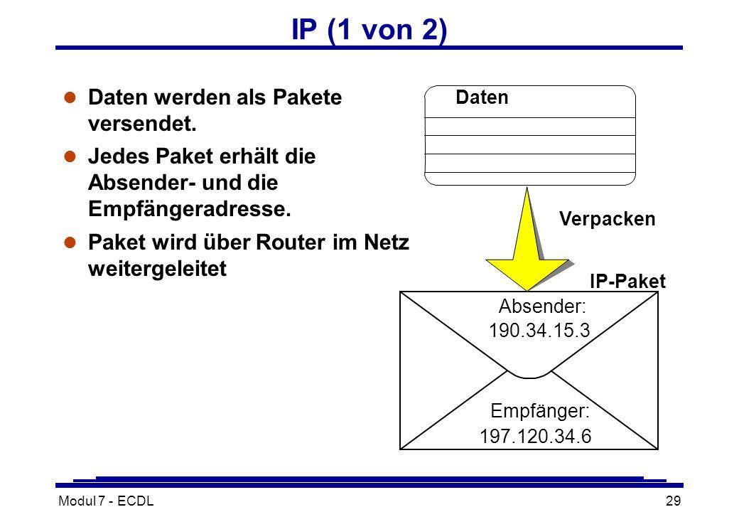 Modul 7 - ECDL29 IP (1 von 2) l Daten werden als Pakete versendet.