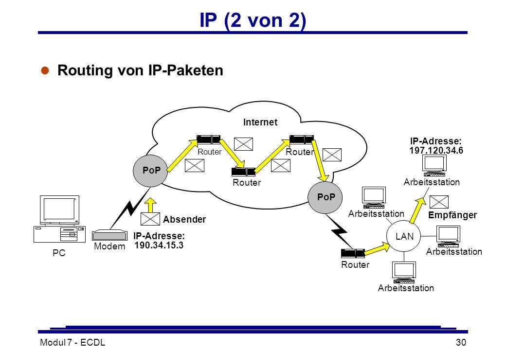 Modul 7 - ECDL30 IP (2 von 2) l Routing von IP-Paketen Router PC Router Modem Router Arbeitsstation