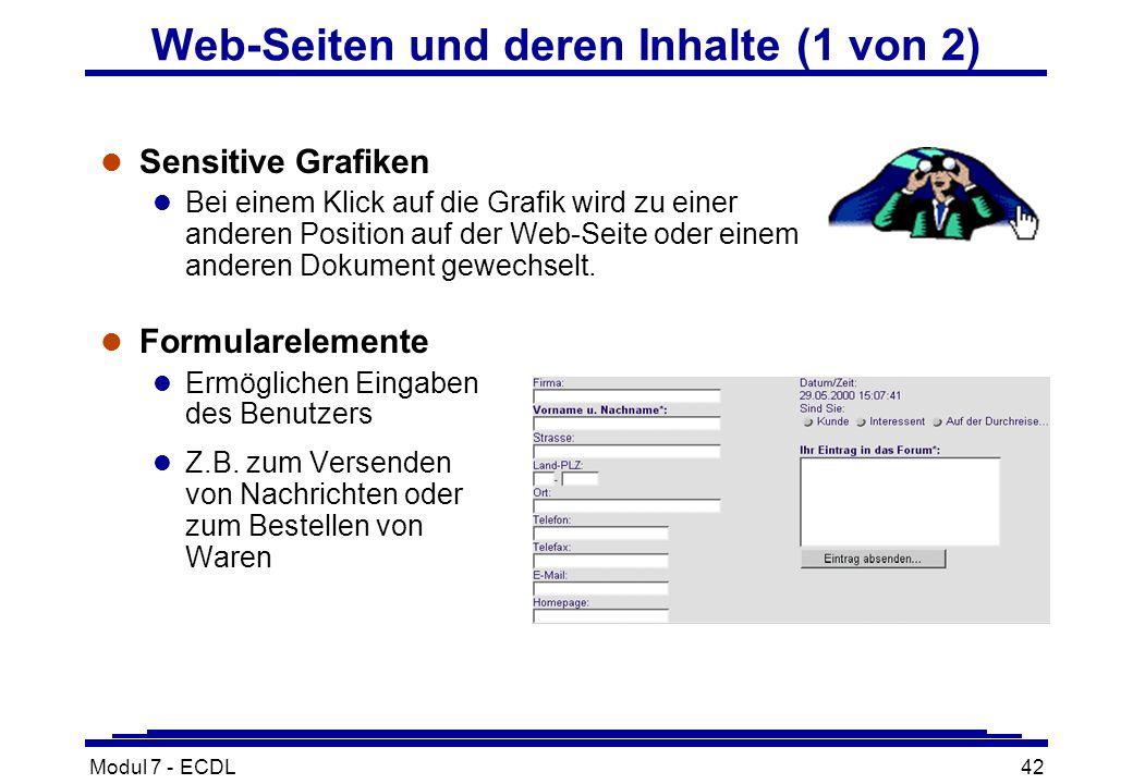 Modul 7 - ECDL42 l Sensitive Grafiken l Bei einem Klick auf die Grafik wird zu einer anderen Position auf der Web-Seite oder einem anderen Dokument gewechselt.