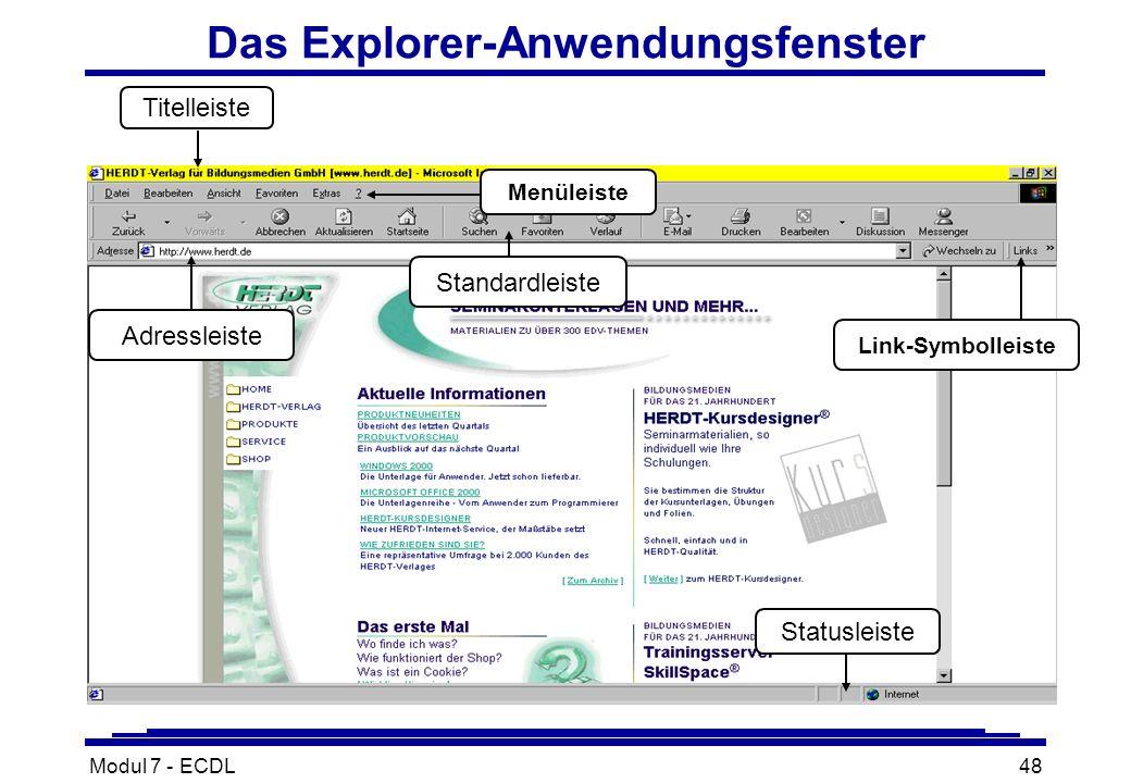 Modul 7 - ECDL48 Das Explorer-Anwendungsfenster Statusleiste Standardleiste Titelleiste Menüleiste Adressleiste Link-Symbolleiste