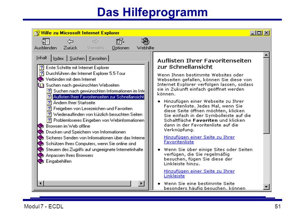 Modul 7 - ECDL51 Das Hilfeprogramm