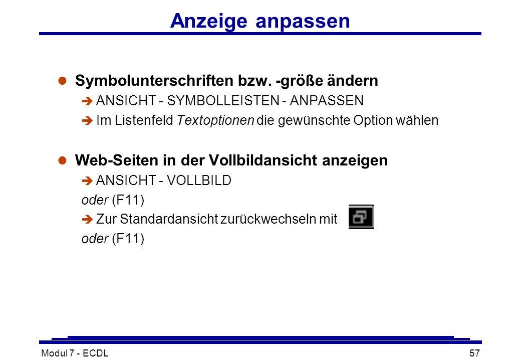 Modul 7 - ECDL57 Anzeige anpassen l Symbolunterschriften bzw.