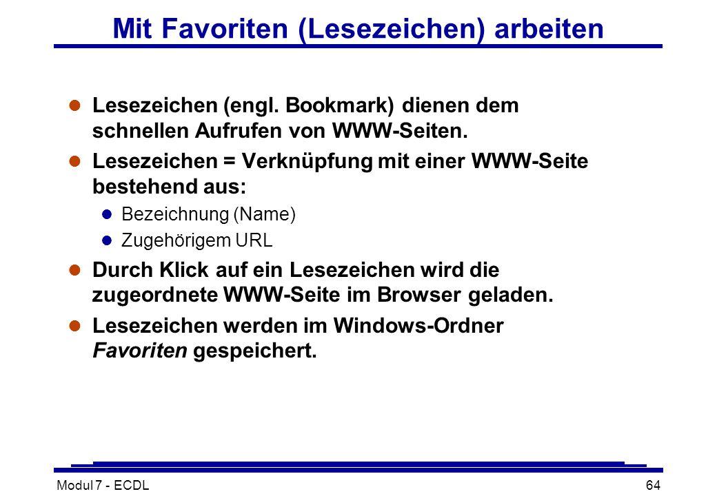 Modul 7 - ECDL64 Mit Favoriten (Lesezeichen) arbeiten l Lesezeichen (engl.