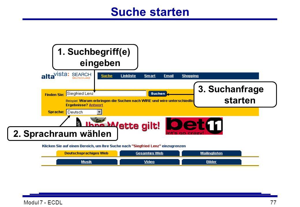 Modul 7 - ECDL77 Suche starten 2. Sprachraum wählen 3.
