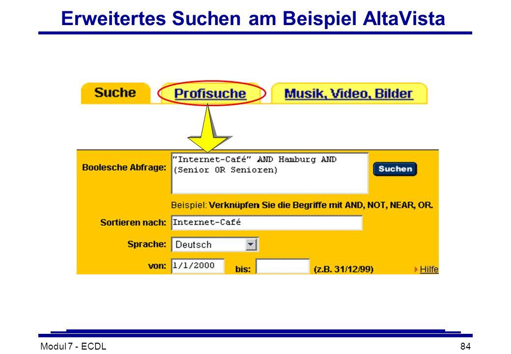 Modul 7 - ECDL84 Erweitertes Suchen am Beispiel AltaVista