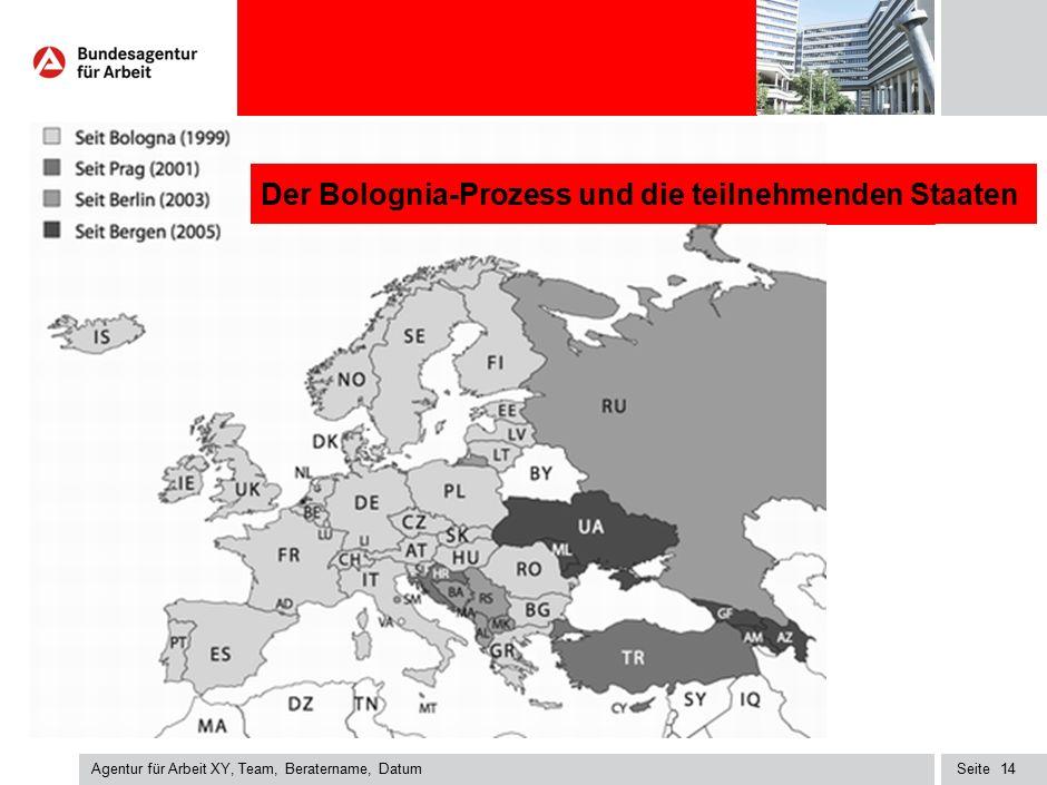Seite Agentur für Arbeit XY, Team, Beratername, Datum 14 Der Bolognia-Prozess und die teilnehmenden Staaten