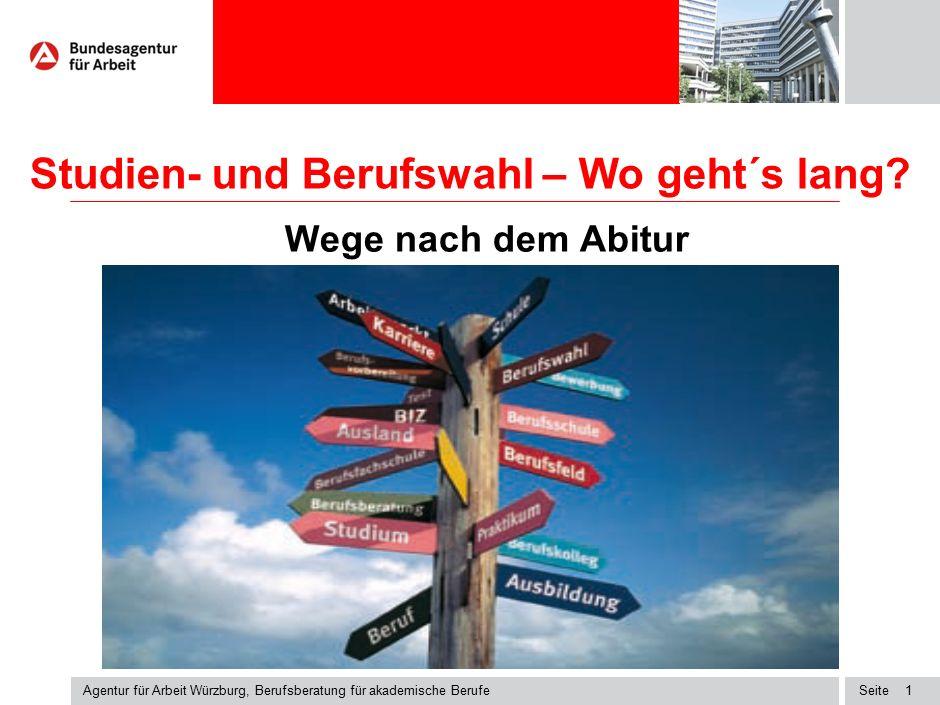Seite Studien- und Berufswahl – Wo geht´s lang? Wege nach dem Abitur Agentur für Arbeit Würzburg, Berufsberatung für akademische Berufe 1