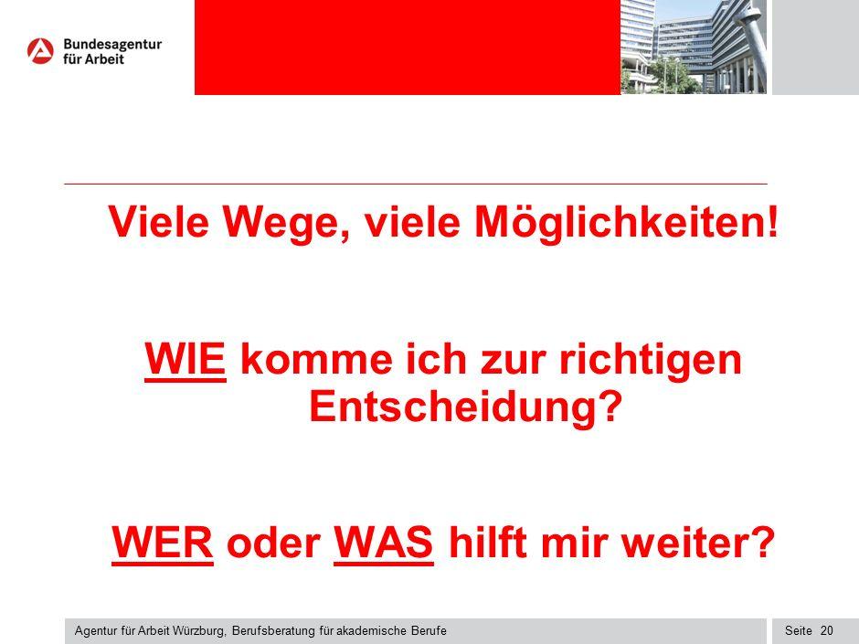 Seite Agentur für Arbeit Würzburg, Berufsberatung für akademische Berufe 20 Viele Wege, viele Möglichkeiten! WIE komme ich zur richtigen Entscheidung?