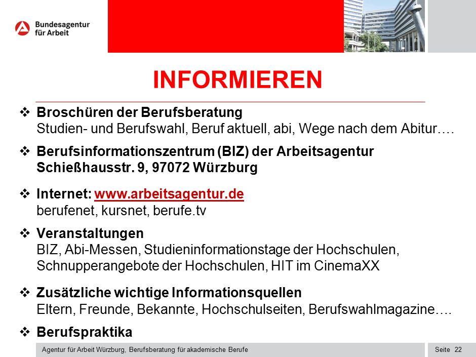 Seite INFORMIEREN  Broschüren der Berufsberatung Studien- und Berufswahl, Beruf aktuell, abi, Wege nach dem Abitur….  Berufsinformationszentrum (BIZ