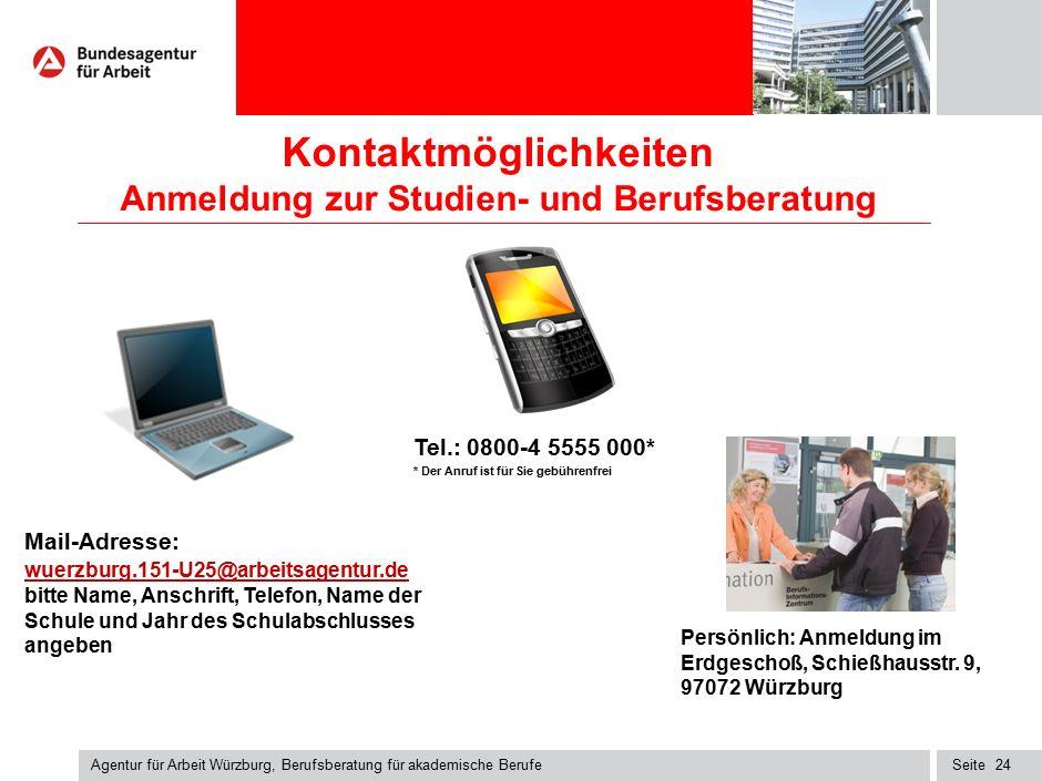 Seite Kontaktmöglichkeiten Anmeldung zur Studien- und Berufsberatung Agentur für Arbeit Würzburg, Berufsberatung für akademische Berufe 24 Mail-Adress