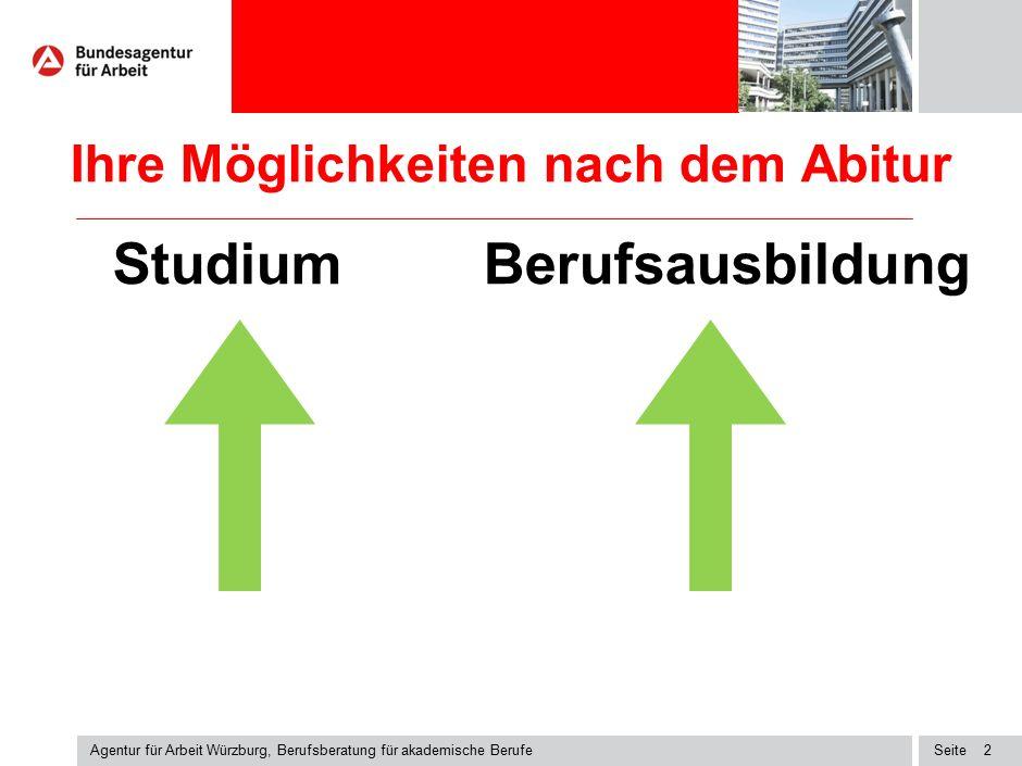 Seite Ihre Möglichkeiten nach dem Abitur Studium Berufsausbildung Agentur für Arbeit Würzburg, Berufsberatung für akademische Berufe 2