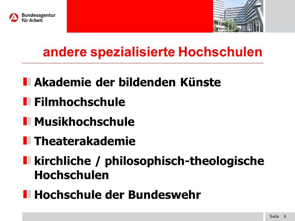 Seite6 andere spezialisierte Hochschulen Akademie der bildenden Künste Filmhochschule Musikhochschule Theaterakademie kirchliche / philosophisch-theol
