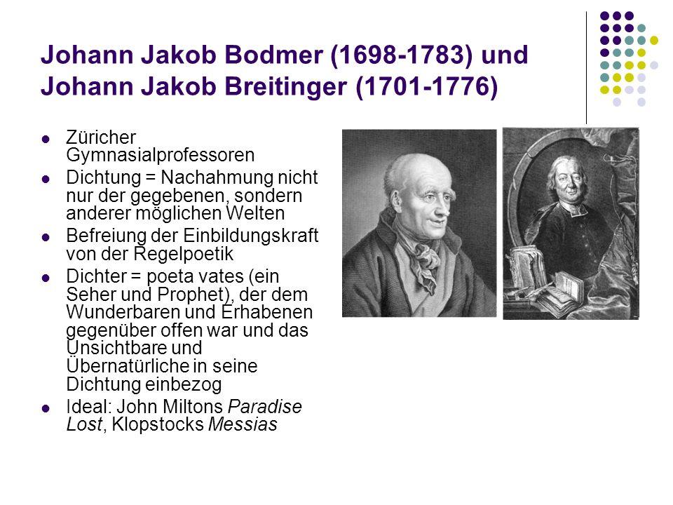 Johann Jakob Bodmer (1698-1783) und Johann Jakob Breitinger (1701-1776) Züricher Gymnasialprofessoren Dichtung = Nachahmung nicht nur der gegebenen, s