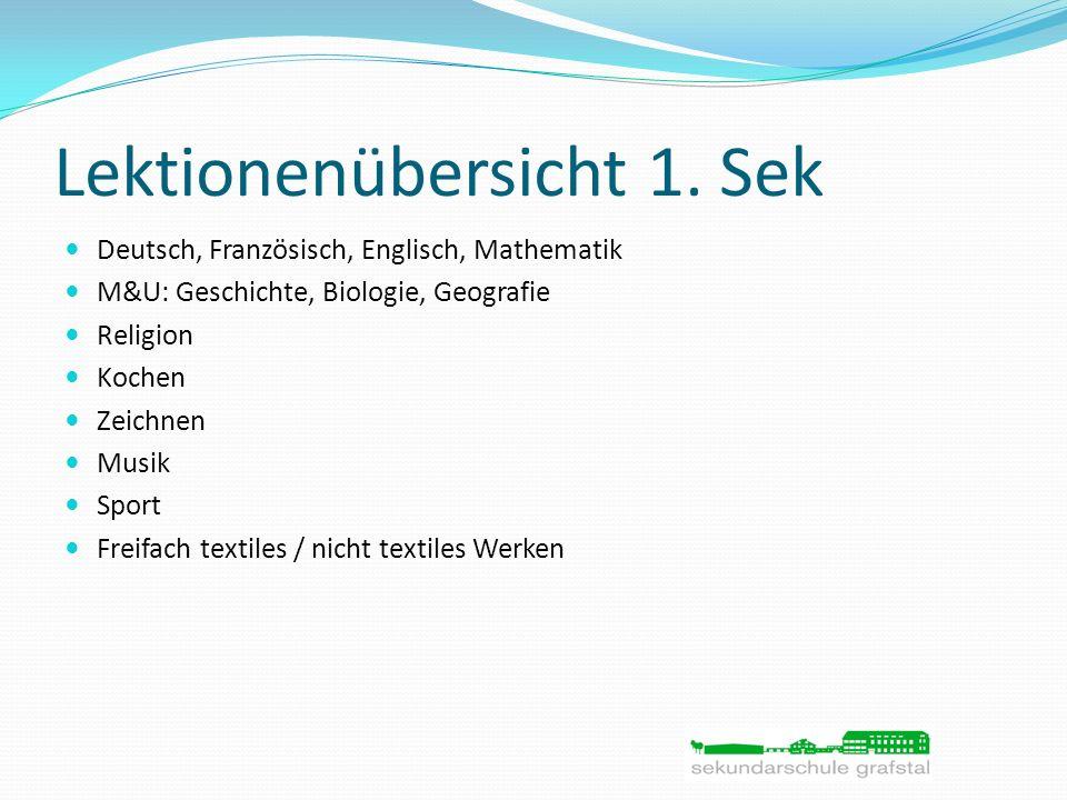 Lektionenübersicht 1. Sek Deutsch, Französisch, Englisch, Mathematik M&U: Geschichte, Biologie, Geografie Religion Kochen Zeichnen Musik Sport Freifac