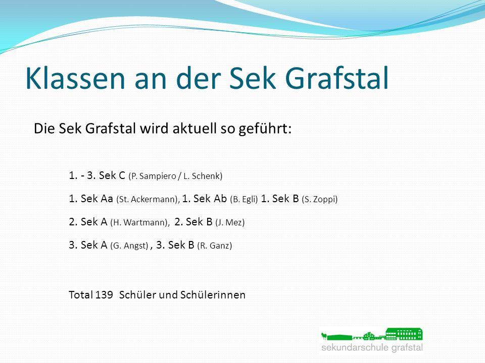 Klassen an der Sek Grafstal Die Sek Grafstal wird aktuell so geführt: 1. - 3. Sek C (P. Sampiero / L. Schenk) 1. Sek Aa (St. Ackermann), 1. Sek Ab (B.
