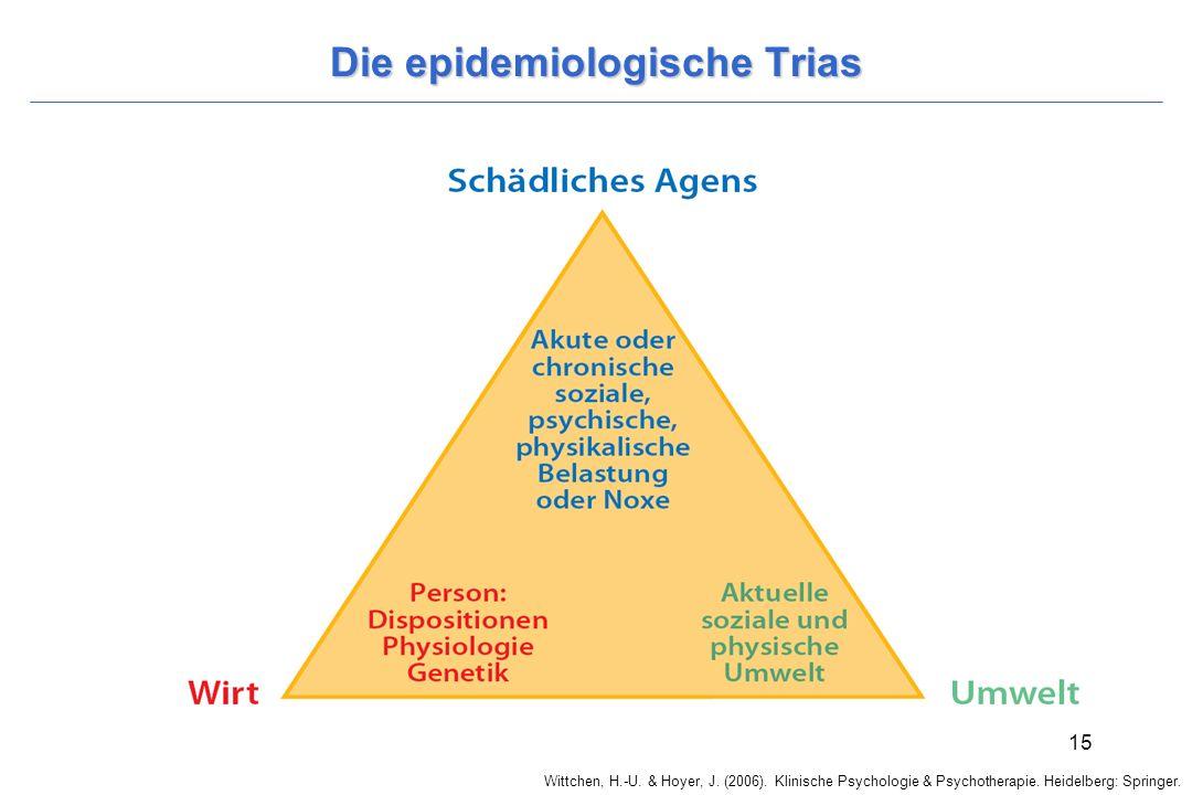 Wittchen, H.-U. & Hoyer, J. (2006). Klinische Psychologie & Psychotherapie. Heidelberg: Springer. 15 Die epidemiologische Trias