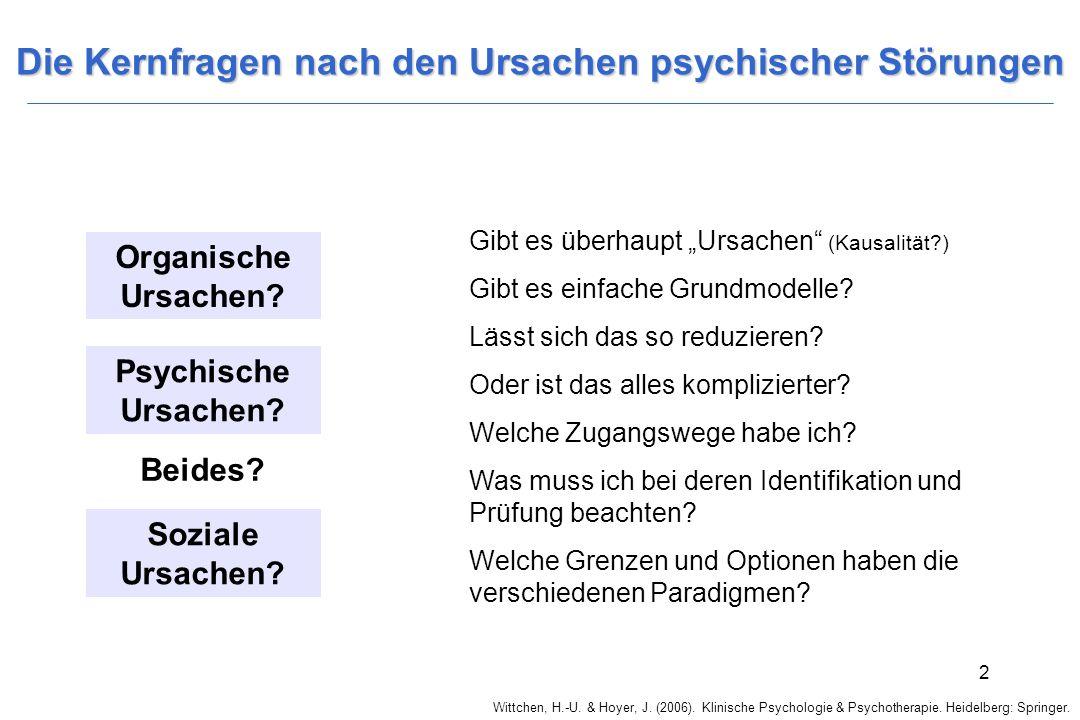 Wittchen, H.-U. & Hoyer, J. (2006). Klinische Psychologie & Psychotherapie. Heidelberg: Springer. 2 Die Kernfragen nach den Ursachen psychischer Störu