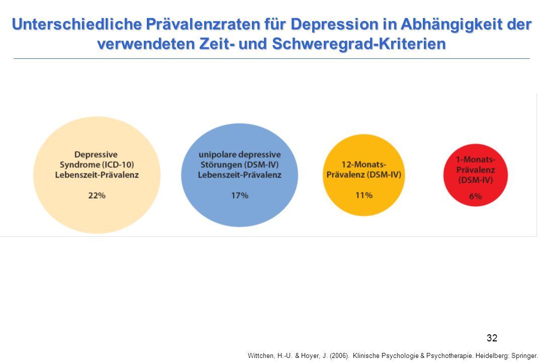 Wittchen, H.-U. & Hoyer, J. (2006). Klinische Psychologie & Psychotherapie. Heidelberg: Springer. 32 Unterschiedliche Prävalenzraten für Depression in