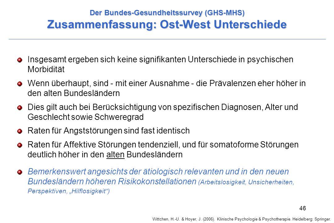 Wittchen, H.-U. & Hoyer, J. (2006). Klinische Psychologie & Psychotherapie. Heidelberg: Springer. 46 Der Bundes-Gesundheitssurvey (GHS-MHS) Zusammenfa