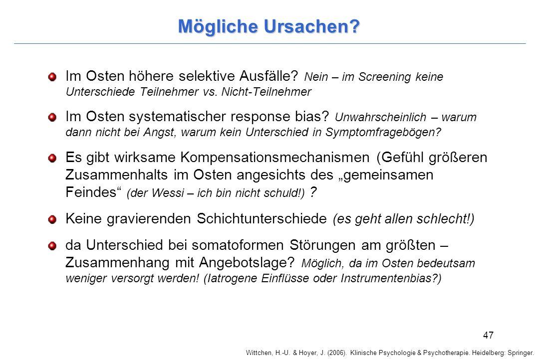 Wittchen, H.-U. & Hoyer, J. (2006). Klinische Psychologie & Psychotherapie. Heidelberg: Springer. 47 Mögliche Ursachen? Im Osten höhere selektive Ausf