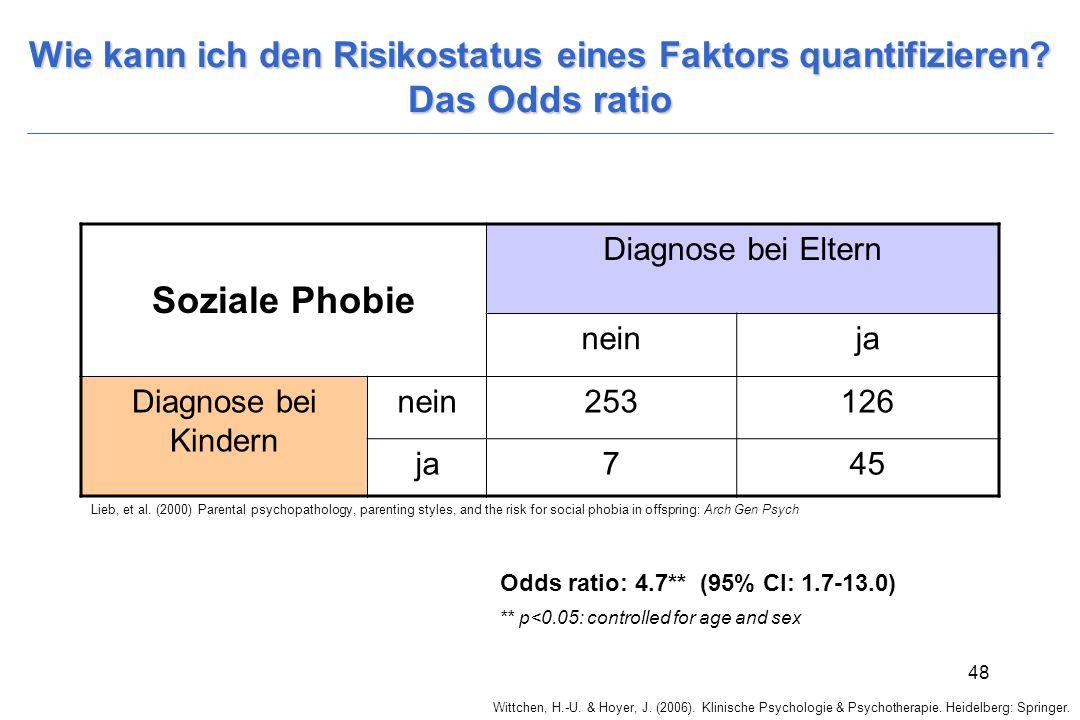 Wittchen, H.-U. & Hoyer, J. (2006). Klinische Psychologie & Psychotherapie. Heidelberg: Springer. 48 Wie kann ich den Risikostatus eines Faktors quant