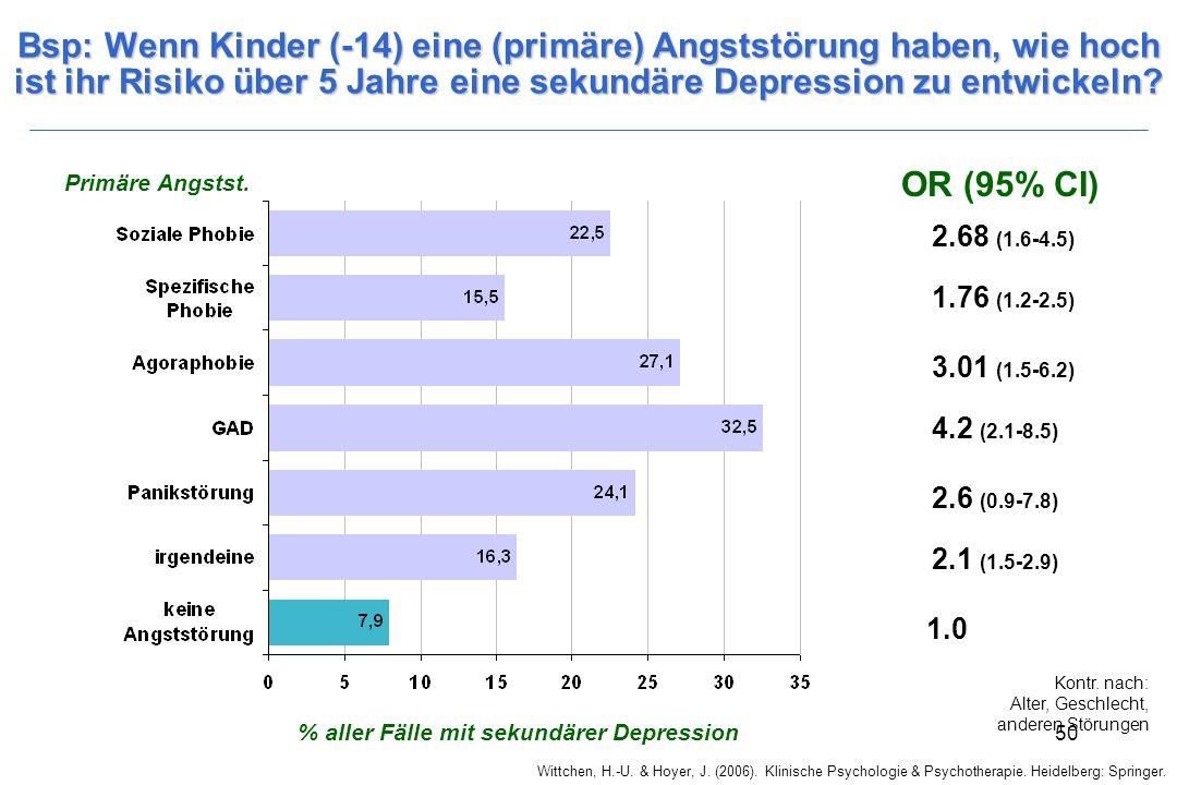 Wittchen, H.-U. & Hoyer, J. (2006). Klinische Psychologie & Psychotherapie. Heidelberg: Springer. 50 Bsp: Wenn Kinder (-14) eine (primäre) Angststörun