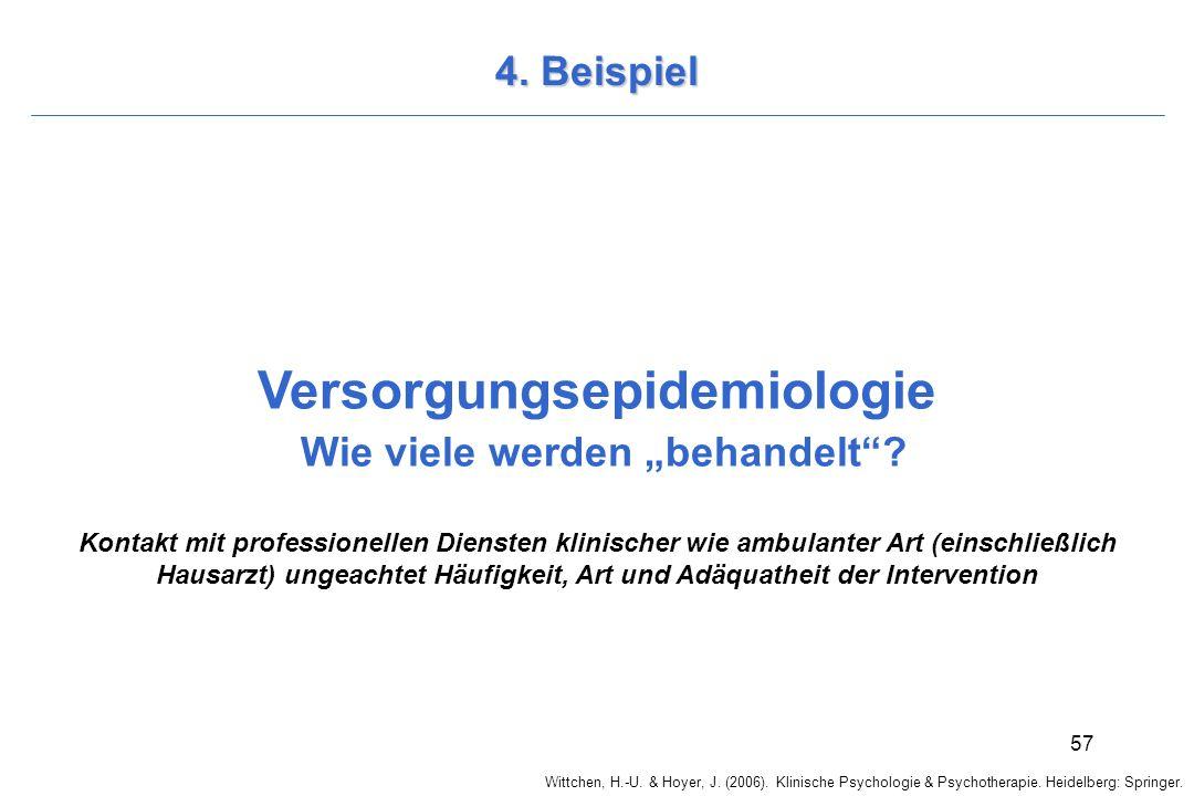 Wittchen, H.-U. & Hoyer, J. (2006). Klinische Psychologie & Psychotherapie. Heidelberg: Springer. 57 4. Beispiel Versorgungsepidemiologie Wie viele we