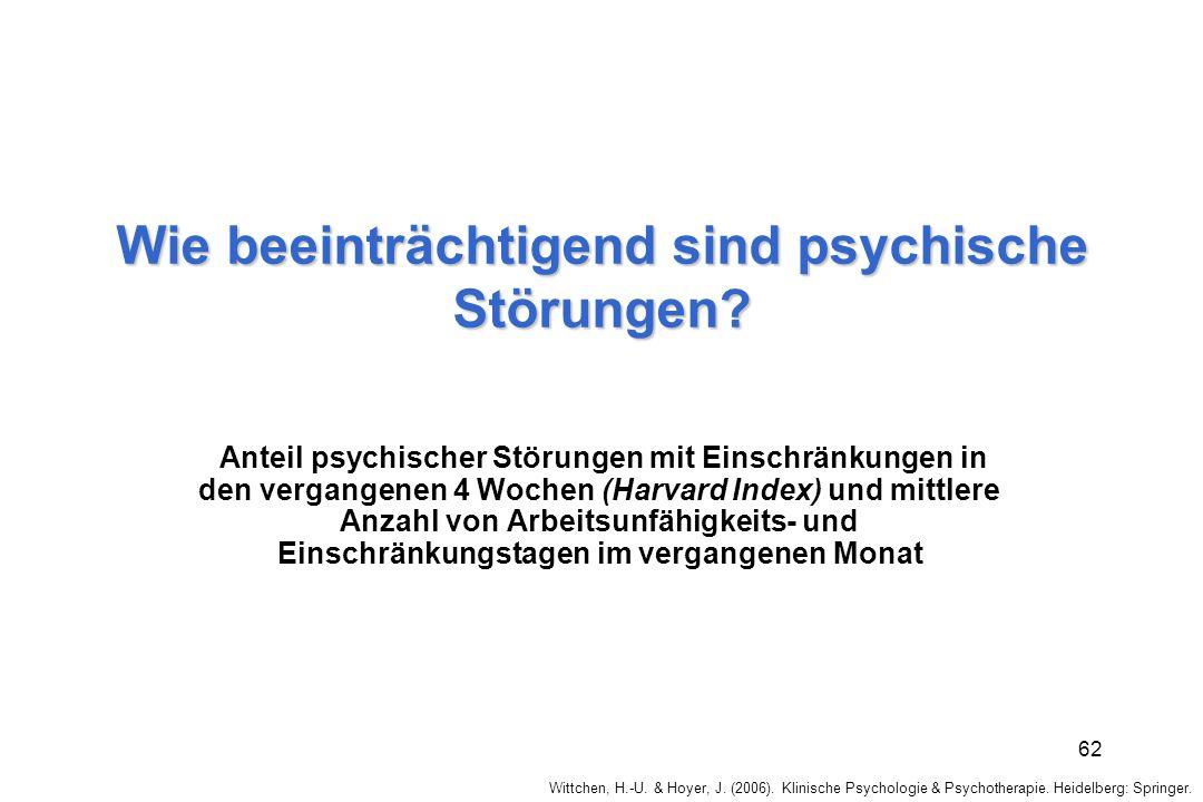 Wittchen, H.-U. & Hoyer, J. (2006). Klinische Psychologie & Psychotherapie. Heidelberg: Springer. 62 Wie beeinträchtigend sind psychische Störungen? A