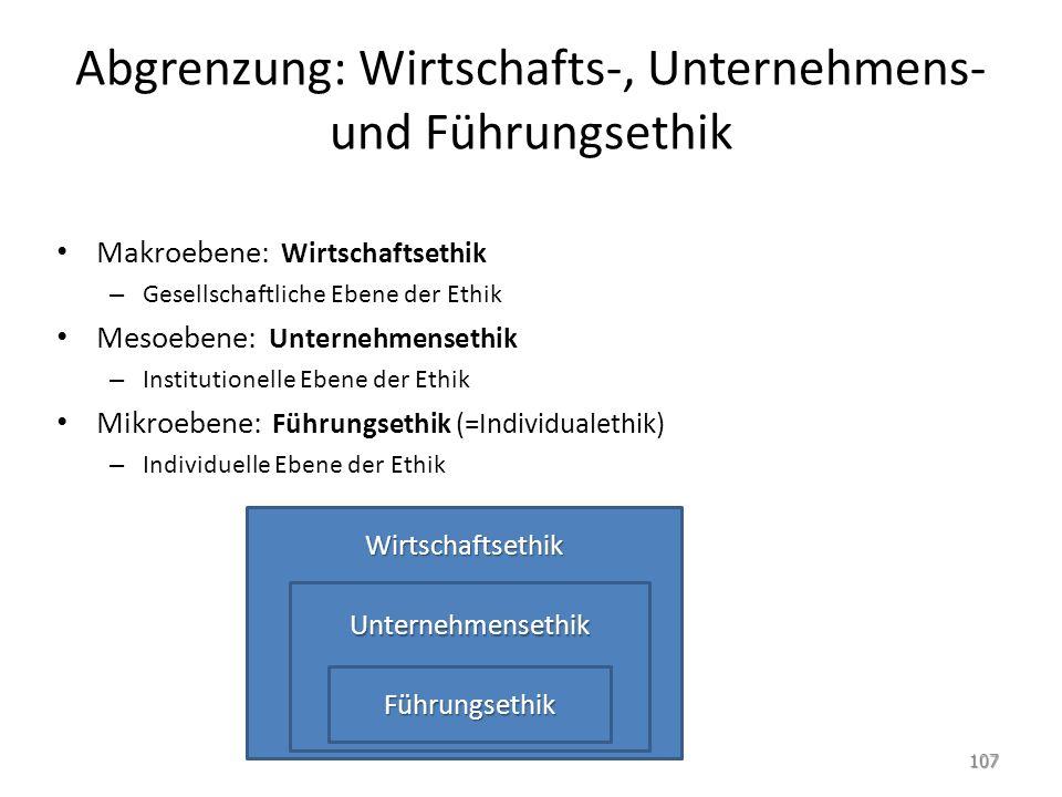 Abgrenzung: Wirtschafts-, Unternehmens- und Führungsethik Makroebene: Wirtschaftsethik – Gesellschaftliche Ebene der Ethik Mesoebene: Unternehmensethi