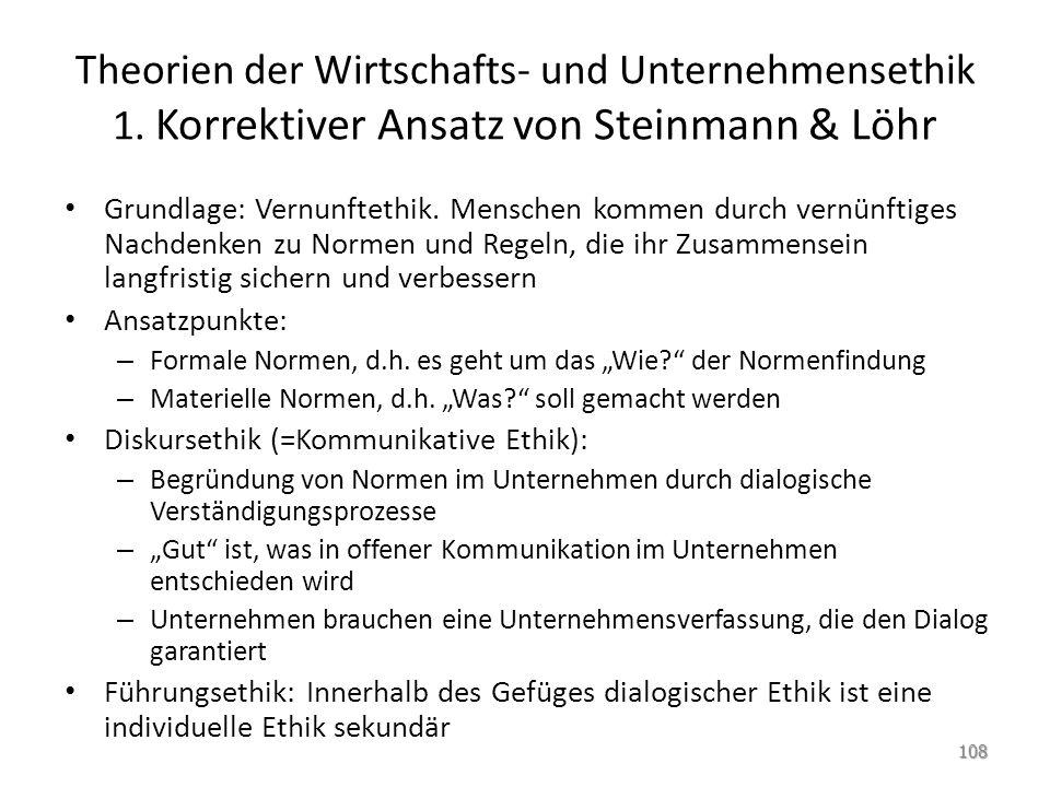 Theorien der Wirtschafts- und Unternehmensethik 1. Korrektiver Ansatz von Steinmann & Löhr Grundlage: Vernunftethik. Menschen kommen durch vernünftige