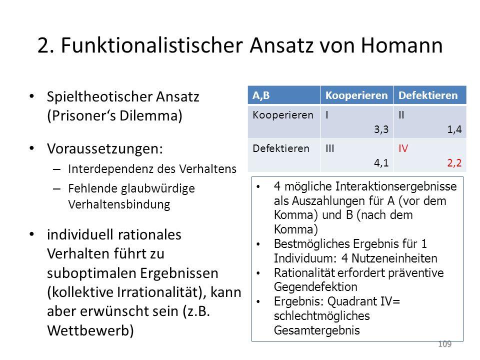 2. Funktionalistischer Ansatz von Homann Spieltheotischer Ansatz (Prisoner's Dilemma) Voraussetzungen: – Interdependenz des Verhaltens – Fehlende glau