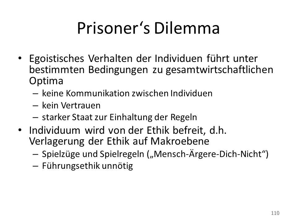 Prisoner's Dilemma Egoistisches Verhalten der Individuen führt unter bestimmten Bedingungen zu gesamtwirtschaftlichen Optima – keine Kommunikation zwi