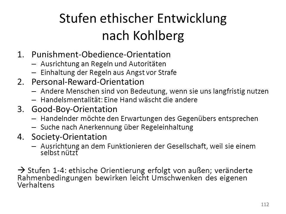 Stufen ethischer Entwicklung nach Kohlberg 1.Punishment-Obedience-Orientation – Ausrichtung an Regeln und Autoritäten – Einhaltung der Regeln aus Angs