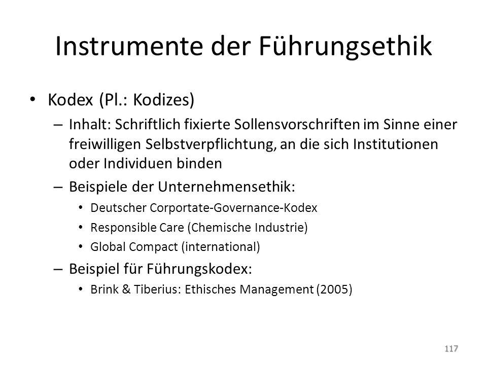 Instrumente der Führungsethik Kodex (Pl.: Kodizes) – Inhalt: Schriftlich fixierte Sollensvorschriften im Sinne einer freiwilligen Selbstverpflichtung,