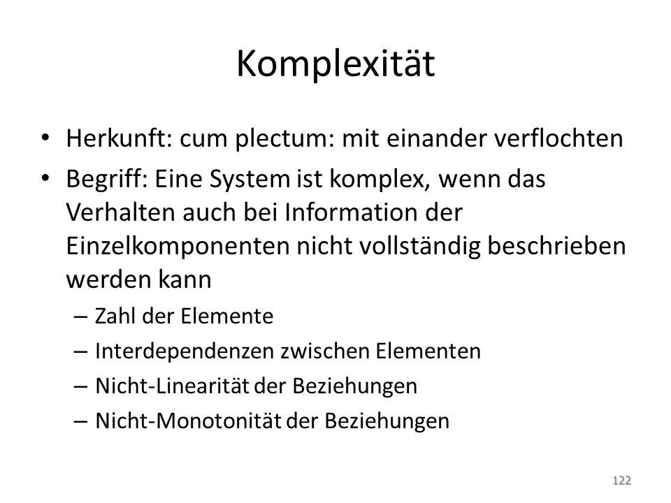 Komplexität Herkunft: cum plectum: mit einander verflochten Begriff: Eine System ist komplex, wenn das Verhalten auch bei Information der Einzelkompon