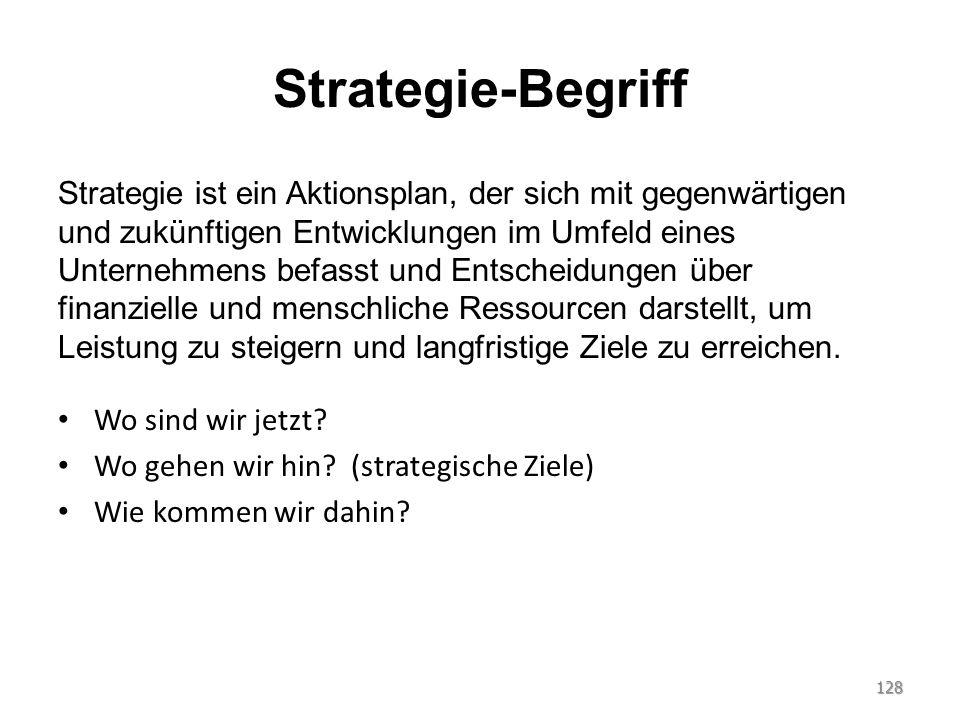 Strategie-Begriff Strategie ist ein Aktionsplan, der sich mit gegenwärtigen und zukünftigen Entwicklungen im Umfeld eines Unternehmens befasst und Ent