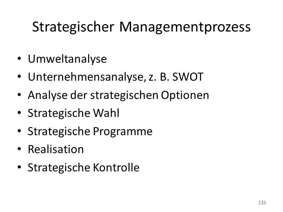 Strategischer Managementprozess Umweltanalyse Unternehmensanalyse, z. B. SWOT Analyse der strategischen Optionen Strategische Wahl Strategische Progra